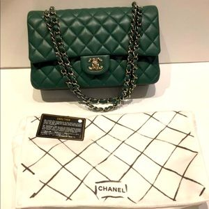 100AUTH CHANEL Green Double Silver Chain Flap Bag